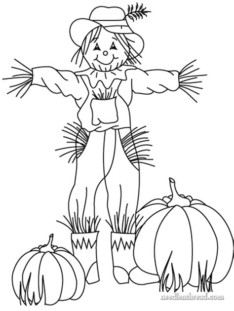 pumpkin scarecrow coloring pages free hand embroidery pattern for fall scarecrow n