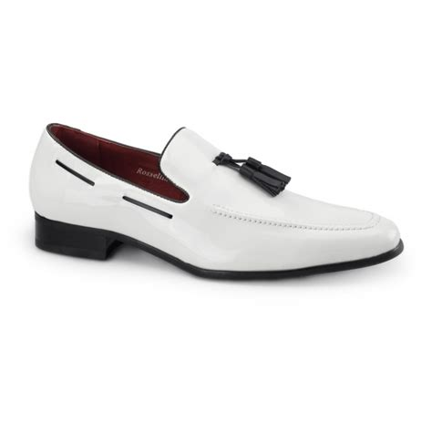 white loafers shoes rossellini jersey mens patent tassle loafer shoes white