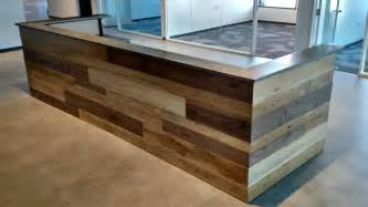 Wood Reception Desk Made Contemporary Reclaimed Wood And Steel Reception Desk By Re Dwell Custommade