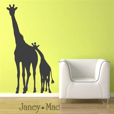 Childrens Giraffe Wall Decal Mom And Baby Kids Bedroom Giraffe Wall Decals For Nursery