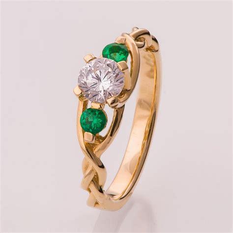 braided engagement ring diamonds and emeralds engagement