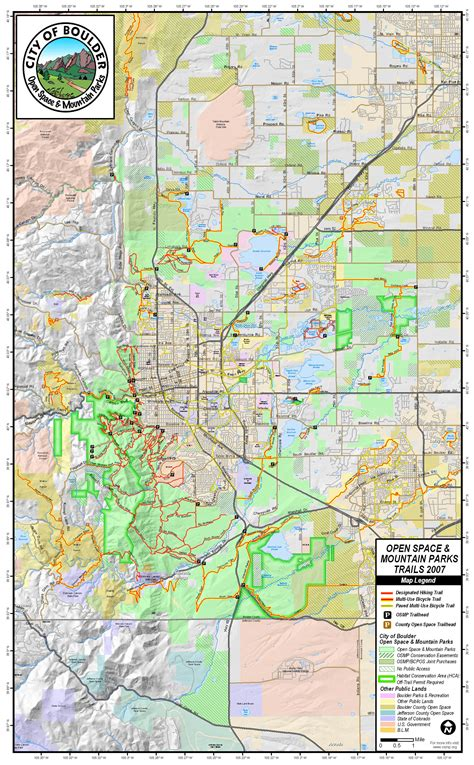 map of of colorado boulder boulder open space and mountain park trail map boulder