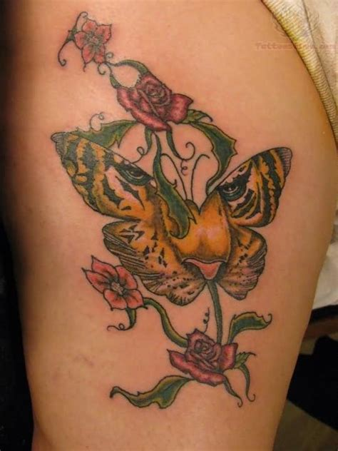 tiger with flowers tattoo designs flowers and butterfly tiger tats that are