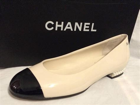 chanel flat shoes chanel 14b two tone patent pearl embellished ballerina