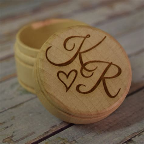 Wedding Ring Jewelry Box by Initials With Wooden Trinket Box Engraved Wood Box