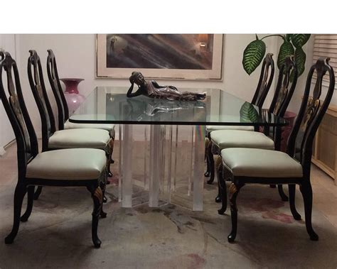 oriental dining room set furniture black lacquer china set of six baker knapp and tubbs black lacquer chinese