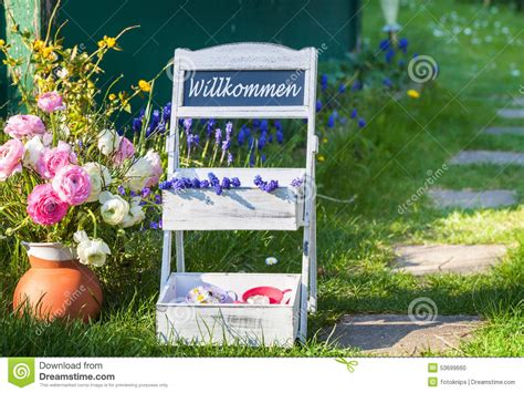 Flower Stairs Welcome To Garden Stock Photo Image 53699660 Welcome To The Flower Garden