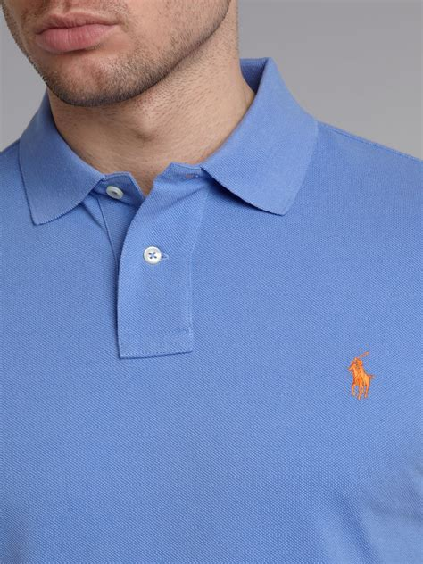 Cp3 Mexx Light Blue Classic Button Sleeve Shir lyst polo ralph classic custom fitted polo shirt in blue for