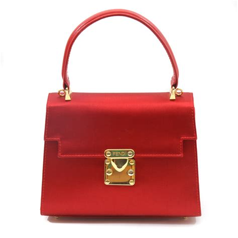 bag of fendi deluxe satin bag w leather