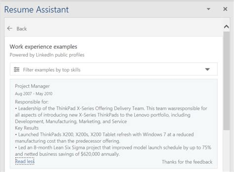 Word Resume Assistant