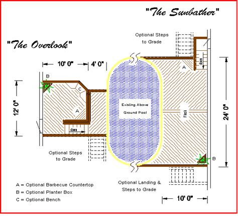 "Building Deck Plans ""The Overlook"" and ""The Sunbather"
