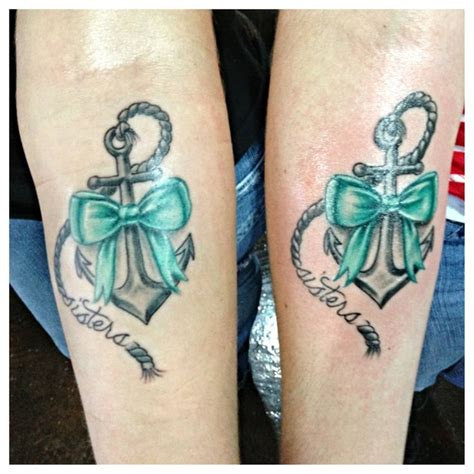 our sister anchor tattoo love the bow tattoos pinterest