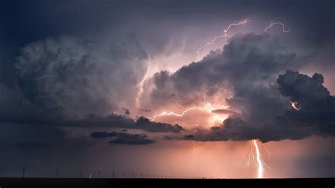 nature landscape clouds horizon lightning storm