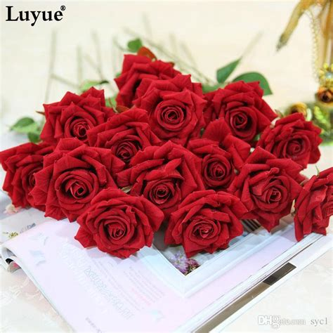 New Home Party Decorations by 2018 Beautiful Rose Artificial Flowers Flocking Rose