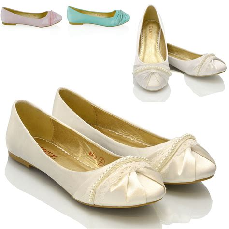 Ivory Lace Flat Wedding Shoes by New Womens Lace Pearl Wedding Bridal Ivory White Ballerina
