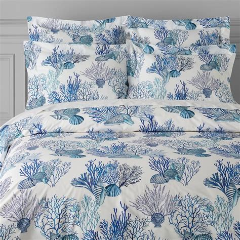 blue and coral bedding coral reef printed organic bedding blue williams sonoma
