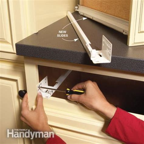 kitchen cabinet drawer repair home repair how to fix kitchen cabinets the family handyman