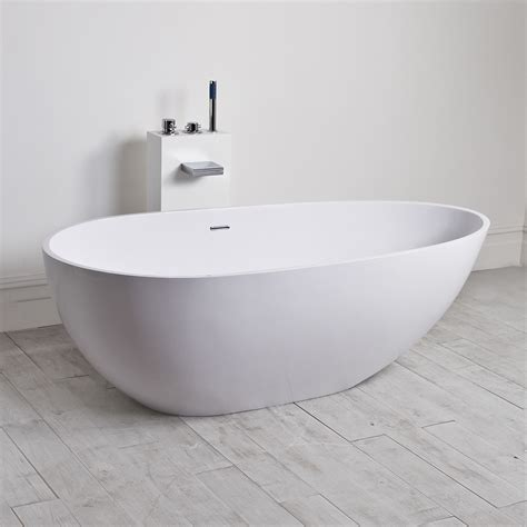freestanding stone resin bathtubs egg shell milano stone freestanding bath solid surface 1700