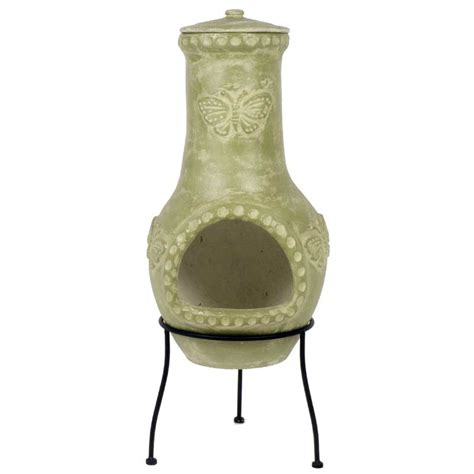 Open Chiminea La Hacienda Butterfly Clay Chiminea Medium 85cm On Sale