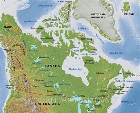 geographical map of usa and canada canada physical map