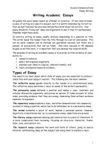 Writing Academic Essays by Personal Reflection Essay Exles