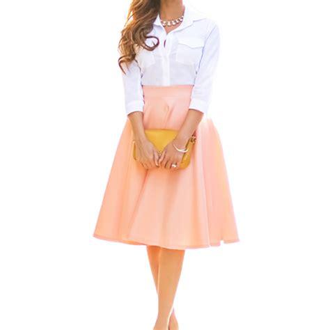 2016 new casual summer midi skirt black pink pleated