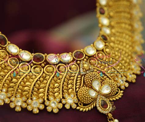 Handmade Gold Jewellery Designs - nl3504 exclusive gold design finish kundan ad handmade