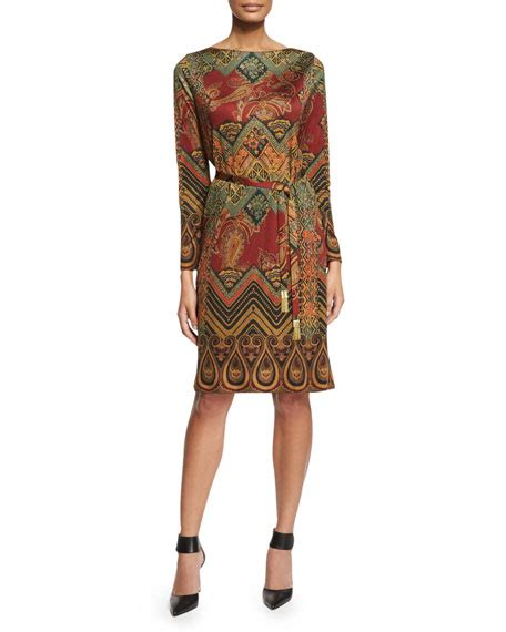 9615 Belted Paisley Print Dress etro paisley print belted dress brick neiman