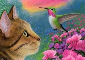 cat and hummingbird rug feline companions