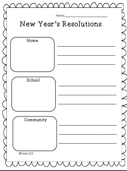 new year school worksheets resolutions teach123