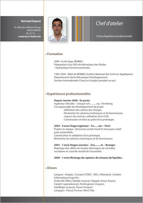 Modèle Cv by Resume Format Modele De Cv Gratuit Mecanicien