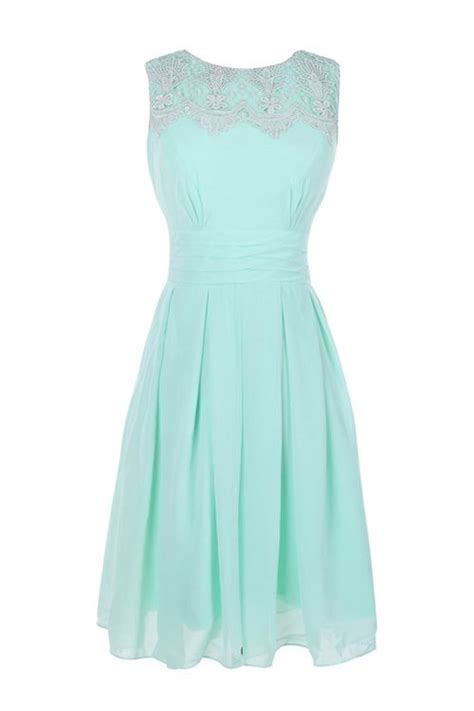 simple   jewel knee length bridesmaid dress