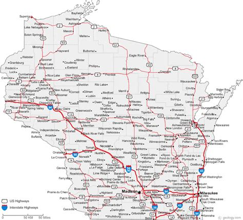 show road map map of wisconsin cities wisconsin road map