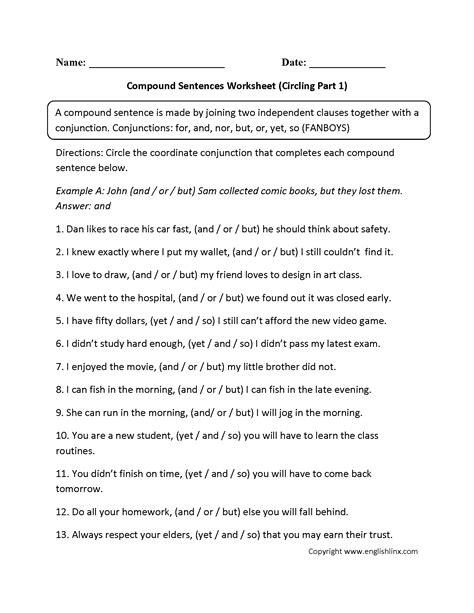 circling compound sentences worksheet sentencessimple