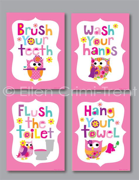bathroom sets for girls kids bathroom art girls print set