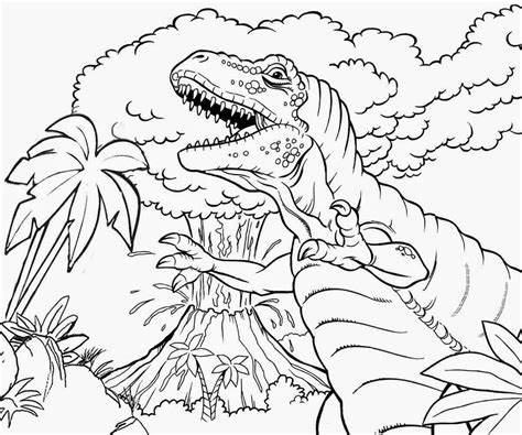 dinosaur color pages dinosaur and volcano coloring sheet
