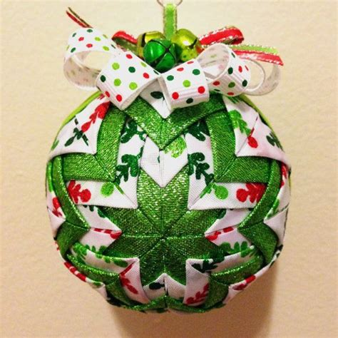 holly jolly  handmade quilted ornament  etsy shop