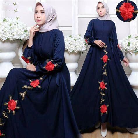 Harga Baju Gamis Merk Omg gamis polos bordir modern busui lengan balon azza dress