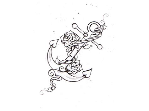 anchor with roses tattoo sketch real photo pictures