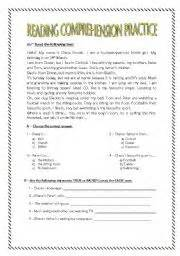 English worksheets reading comprehension practice for 7th graders