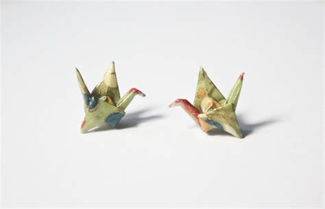 Post It Origami Crane - new sterling silver origami crane post earrings foldit