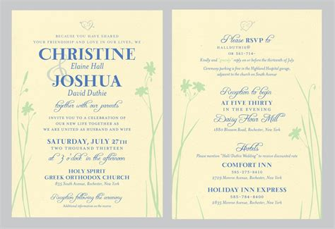 Double Sided Wedding Invitations Sunshinebizsolutions Com Sided Invitations Templates