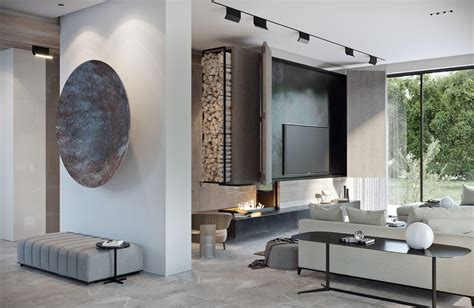 track lighting illuminates a fireplace in a modern living modern house design ideas show off natural decor and