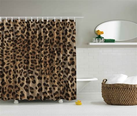 leopard animal print digital fabric shower curtain wild