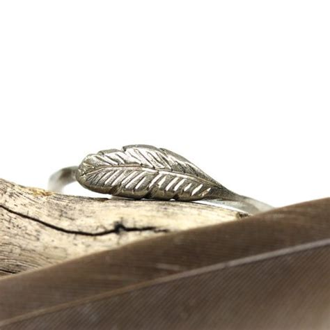 woodland feather ring 14k white gold bird delicate