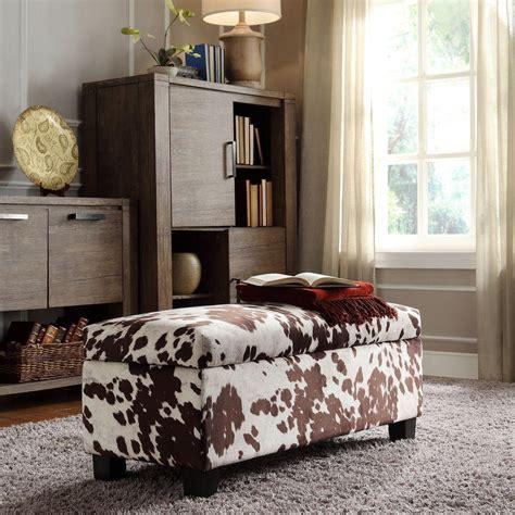 cowhide storage bench homesullivan putnam textured brown cowhide print storage