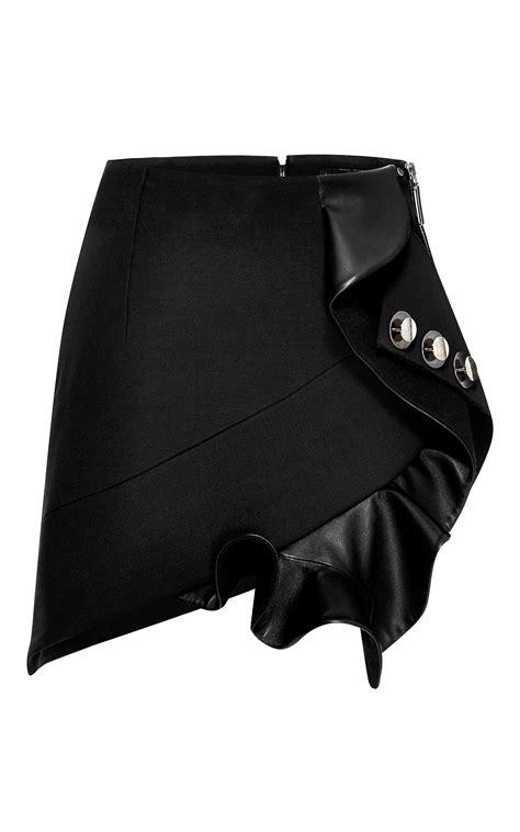 anthony vaccarello three button ruffle leather mini skirt
