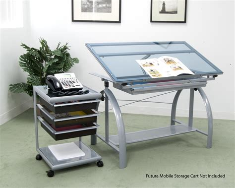 Avanta Drafting Table Avanta Blue Tempered Glass And Steel Height Adjustable Drafting Table With Adjustable Angle Top