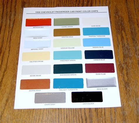 1956 chevy paint chip chart all original colors ebay