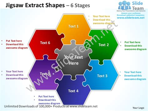 jigsaw powerpoint template jigsaw extract shapes 6 stages powerpoint templates 0712
